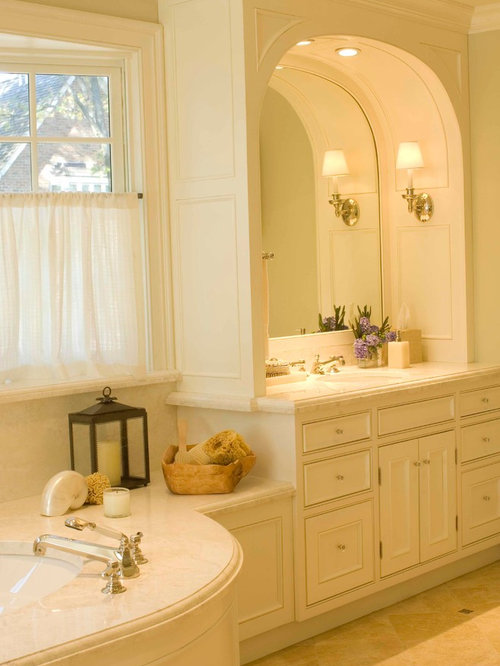 Bathroom Design Ideas Renovations Photos With A Console Sink And Raised Panel Cabinets