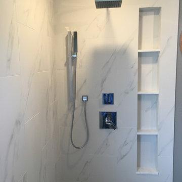 MASTER BATHROOM - Porcelain White Marble Tile, Gray Hexagon Shower Floor
