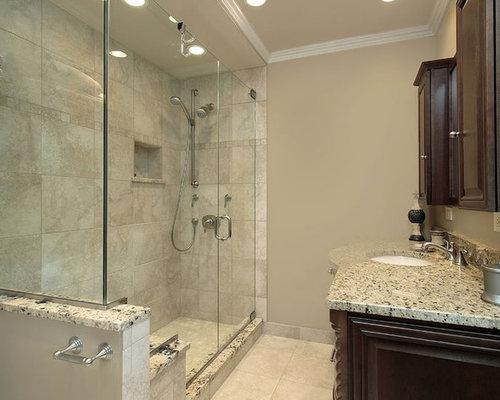 Stanza da bagno con top alla veneziana e piastrelle in ceramica - Foto, Idee, Arredamento