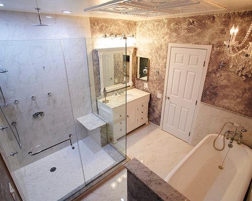 Salles de bains et wc romantiques avec un carrelage gris for Salle bain romantique