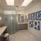 Dramatic master bath fireplace remodel university city - Bathroom renovation order of trades ...