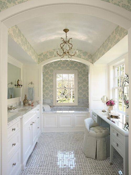 Inspiration For A Large Timeless Master Marble Floor Alcove Bathtub Remodel  In Minneapolis With Marble Countertops