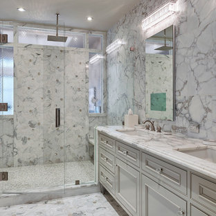 Example Of A Clic White Tile And Marble Floor Alcove Shower
