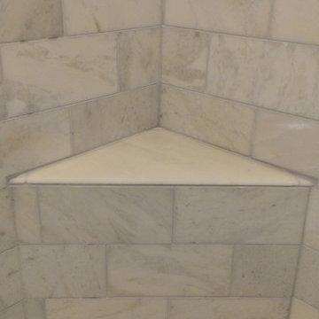 "MASTER BATHROOM - Shower - Carrara Marble 6"" x 12"""