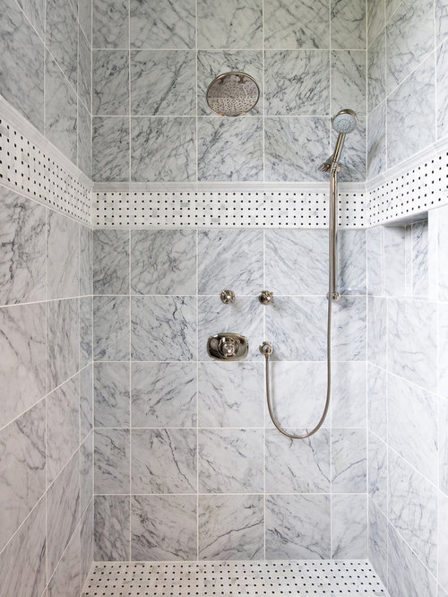 Beautiful Example Of A Classic Bathroom Design In Charleston With Gray Tile