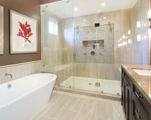Mid Sized Tuscan Master Bathroom Photo In San Francisco With A Freestanding Tub Beige