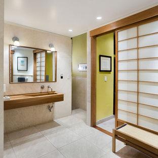 ニューヨークのアジアンスタイルのおしゃれな浴室 (一体型シンク) の写真