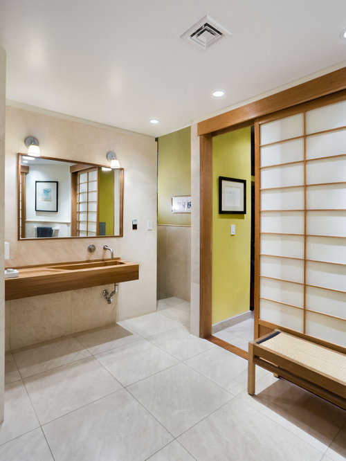 Asian bathroom photo in New York with an integrated sink & Rice Paper Doors | Houzz pezcame.com