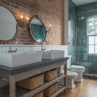 Example of a large urban master gray tile and ceramic tile mosaic tile floor and brown floor bathroom design in Toronto with concrete countertops, open cabinets, brown cabinets, a two-piece toilet, white walls and a vessel sink
