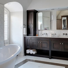 A Rich, Cocoa Bean Finish On Hickory Cabinets From Grabill Cabinet Company  Enhances The Simple Styling Of The Vanity. Tall Cabinets That Sit On The ...