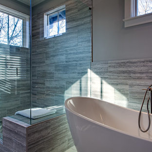 Inspiration for a contemporary master gray tile ceramic floor bathroom remodel in Nashville with an undermount sink, flat-panel cabinets, gray cabinets and gray walls