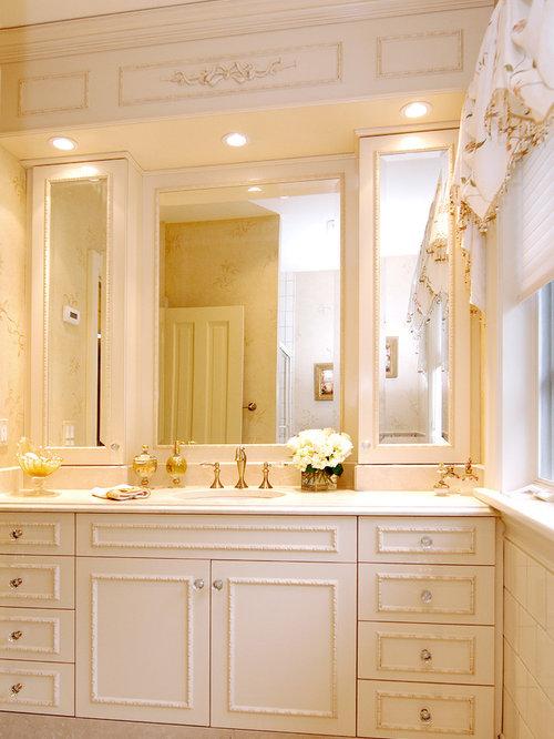 Large Elegant Master Beige Tile Ceramic Floor Bathroom Photo In New York With White Cabinets