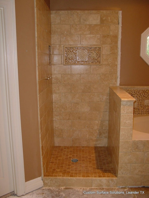 MASTER BATHROOM - Travertine Tile Shower, Tub, Floor