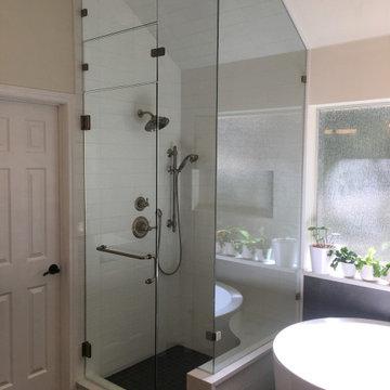 MASTER BATHROOM - White and Dark Gray Tile, Japanese Soaker Tub, Corner Shower