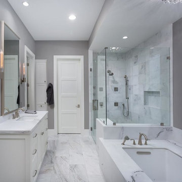 Master bathroom white and gray in Austin, TX