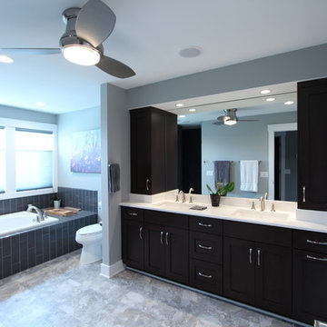 Master Bathroom with Dark Stained Shaker Cabinets