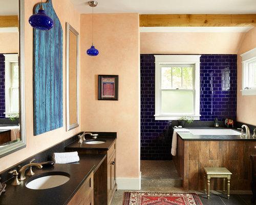 mediterrane badezimmer mit oranger wandfarbe ideen design. Black Bedroom Furniture Sets. Home Design Ideas
