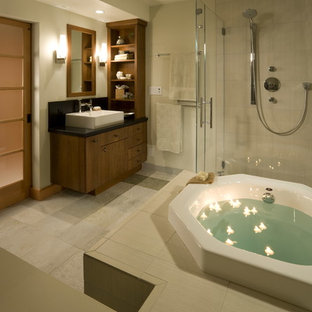 Example of an asian bathroom design in San Francisco with a vessel sink
