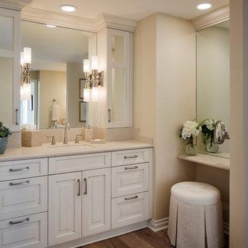 Master Bathroom with White Cabinet Vanity