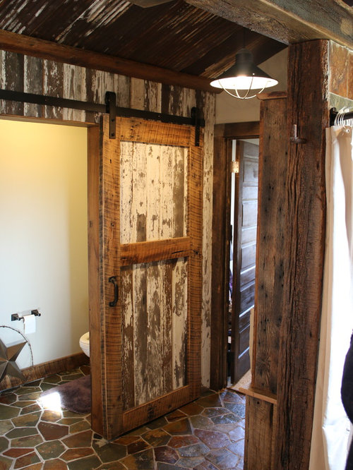Rustic Shower Bathroom Design Ideas, Remodels & Photos with Open Cabinets and Brown Tile