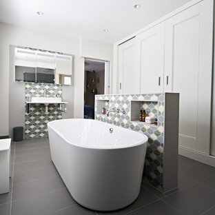 Master ensuite with feature tiling & bespoke wardrobes, Brighton