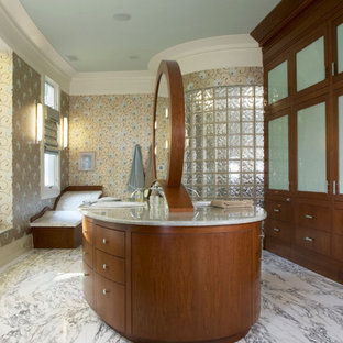 Alcove shower - huge eclectic master gray tile marble floor alcove shower idea in DC Metro with an undermount sink, flat-panel cabinets, medium tone wood cabinets and granite countertops