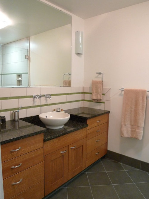 Example of a trendy bathroom design in Seattle with a vessel sink. Vessel Sink Granite Countertop   Houzz