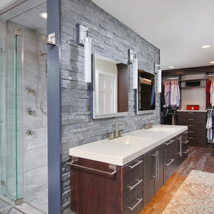 Design ideas for a contemporary bathroom in Philadelphia with an integrated sink, flat-panel cabinets, dark wood cabinets, an alcove shower and grey tiles.