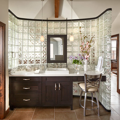 Example of a mid-sized classic master glass tile porcelain tile bathroom design in Denver with a drop-in sink, shaker cabinets, dark wood cabinets, white walls, quartzite countertops and white countertops