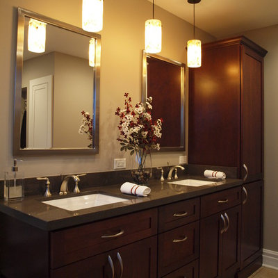 Example of a mid-sized classic master bathroom design in Chicago with an undermount sink, shaker cabinets, dark wood cabinets, quartz countertops and beige walls
