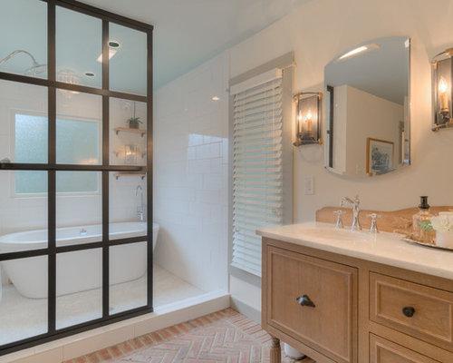 Takbelysning Dusch : Foton och badrumsinspiration för badrum med tegelgolv en
