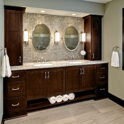 Large elegant master beige tile and ceramic tile porcelain tile bathroom photo in Minneapolis with an undermount sink, shaker cabinets, dark wood cabinets, granite countertops, a two-piece toilet and green walls
