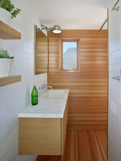 Mid Sized Contemporary Master White Tile And Subway Tile Medium Tone Wood  Floor Bathroom Idea