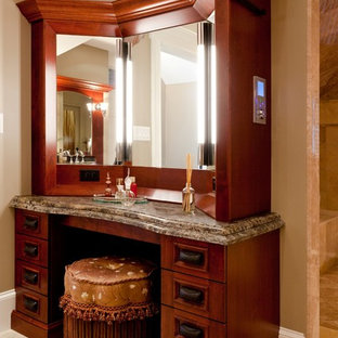 Inspiration for a timeless beige tile and stone tile marble floor bathroom remodel in Boston with recessed-panel cabinets, medium tone wood cabinets, granite countertops and beige walls