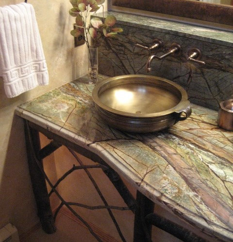 Forest Green Kitchen: Green Marble