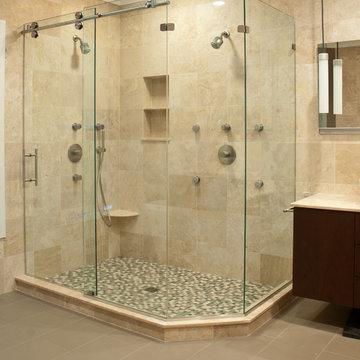 Matrix Series Frameless Slider Shower Door/ Enclosures by GlassCrafters Inc