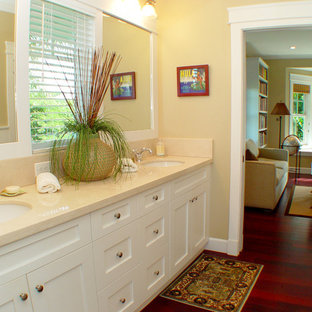 Island style bathroom photo in Hawaii with marble countertops and an undermount sink