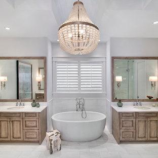 75 most popular beach style bathroom with marble floors
