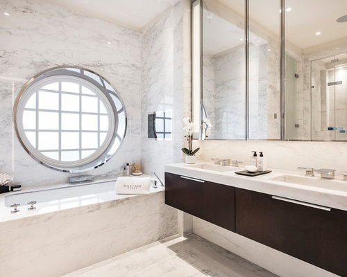 Design Ideas For A Contemporary Ensuite Bathroom In Es With Flat Panel Cabinets White