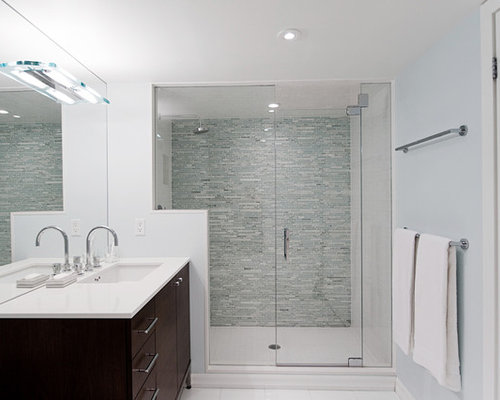 inspiration for a contemporary matchstick tile alcove shower remodel in toronto with an undermount sink - Matchstick Tile Bedroom Decor