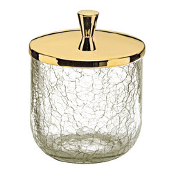 MD Luxo Crackled Crystal Glass Cotton Jar. Gold. - Luxurius crackled crystal glass canister normally used in the bathroom or in the makeup area.
