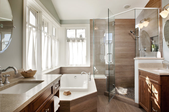 Transitional Bathroom by Lawrence and Gomez Architects