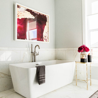 Example of a mid-sized transitional master black and white tile and porcelain tile porcelain tile bathroom design in Salt Lake City with white cabinets, gray walls, an undermount sink and quartz countertops