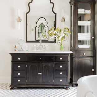 75 beautiful black and white tile bathroom with distressed