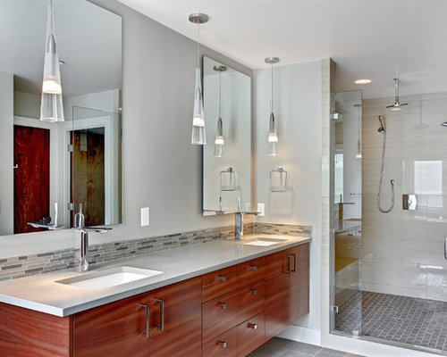 trendy bathroom photo in seattle with an undermount sink gray tile and matchstick tile - Bathroom Backsplash