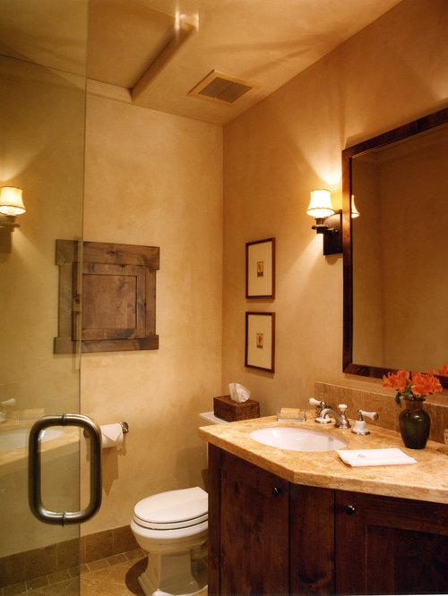 Mediterranean Bathroom Idea In Other With Dark Wood Cabinets And Beige Walls