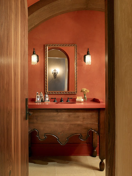 Bathed in color when to use red in the bath for Warm bathroom colors
