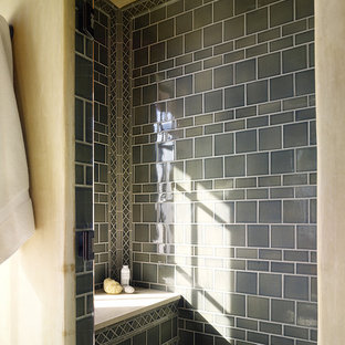 Example of a tuscan green tile bathroom design in San Francisco