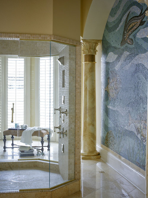 Captivating Tuscan Mosaic Tile Bathroom Photo In Little Rock