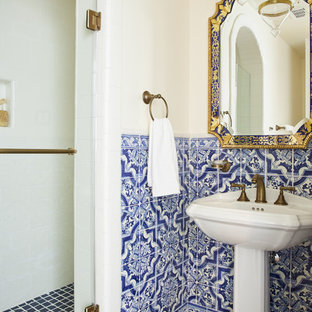 Bathroom - mediterranean 3/4 blue tile, multicolored tile and white tile dark wood floor bathroom idea in Los Angeles with a pedestal sink and a hinged shower door